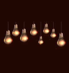Hanging realistic light bulbs with light and spa vector