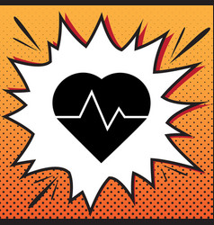 Heartbeat sign comics style vector
