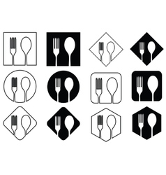 Icon spoons and forks on geometric figures vector