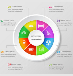 Infographic design template with hospital icons vector