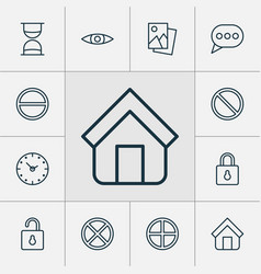 Internet icons set with time unlock exit and vector