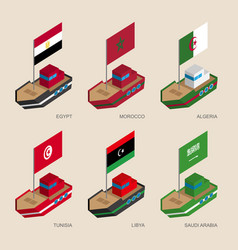 Isometric ships with flags of middle east vector