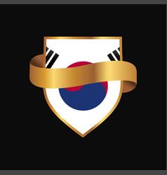 Korea south flag golden badge design vector