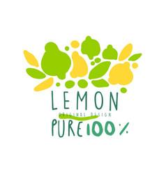 lemon 100 percent logo template original design vector image