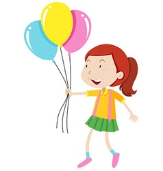 Little girl holding three balloons vector