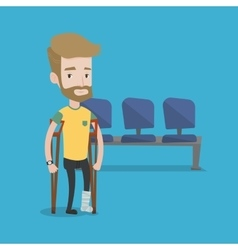 Man with broken leg and crutches vector