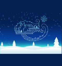 merry christmas winter night scene background vector image