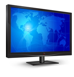 monitor blue world map vector image