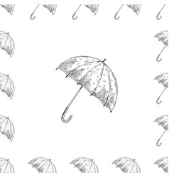 Monochrome pattern with umbrella seamless vector