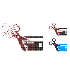 Moving pixel halftone cut credit card icon vector