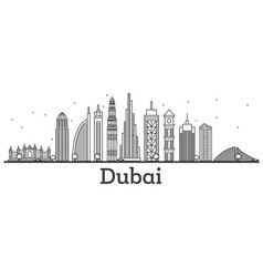 Outline dubai uae skyline with modern buildings vector