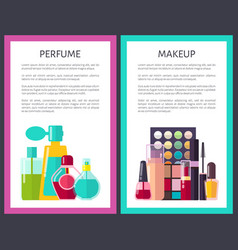 pair of makeup and perfume multicolored cards vector image