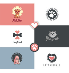 pet shop logo designs collection vector image