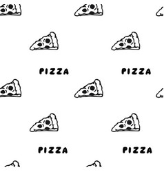 pizza draw by hand seamless pattern vector image
