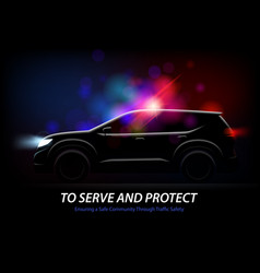 police car lights background vector image