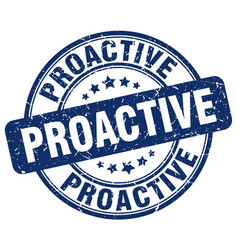 Proactive blue grunge stamp vector