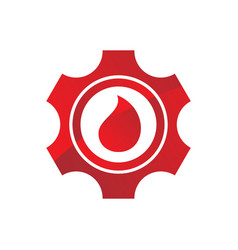 Red gear wheel with red water drops as logo vector