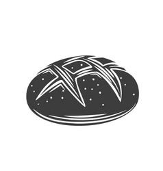 Rye round bread glyph icon vector