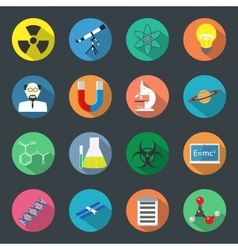 Science flat icons set vector image