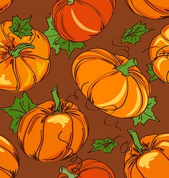 Seamless pattern of pumpkins vector