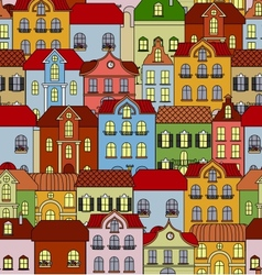 Seamless pattern with retro buildings and houses vector