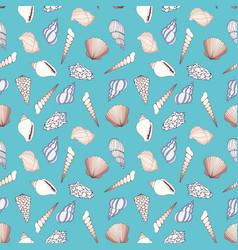 Seashells on a blue background vector