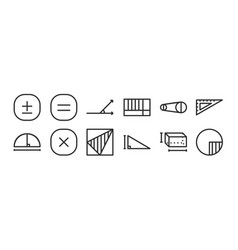 Set 12 thin outline icons such as circle vector