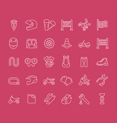 set line icons motorcycle sport vector image