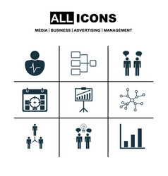 Set of 9 executive icons includes conversation vector