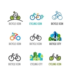 set of bicycle icons and symbols vector image