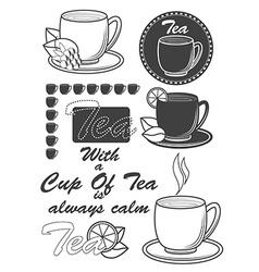 Set of vintage tea labels badges and design vector