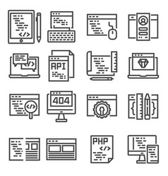 Set of web development line icons vector