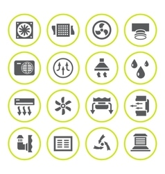 Set round icons of ventilation and conditioning vector image
