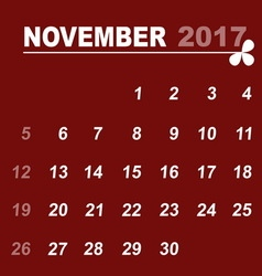 Simple calendar template of november 2017 vector
