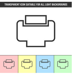 simple outline transparent printer icon on vector image