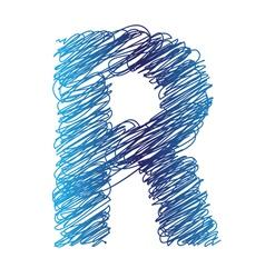 Sketched letter r vector
