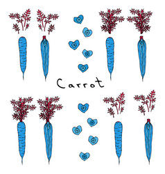 strange crazy blue carrots realistic hand drawn vector image
