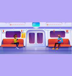subway train car with people in masks vector image