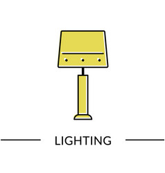 Table lamp lighting line icon for web vector