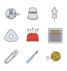 Tailoring color icons set vector