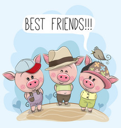 three cute cartoon pigs and a bird vector image