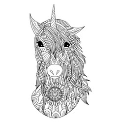 unicorn head coloring page vector image