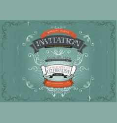 Vintage invitation poster background vector