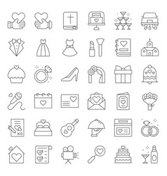 wedding organization related icon line style vector image