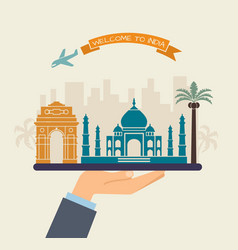welcome to india attractions india on a tray vector image
