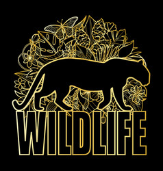 Wildlife golden print with leopard and tropical vector