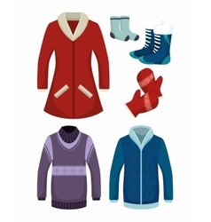 Winter holiday clothes icon vector