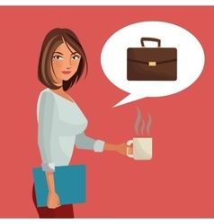 Woman business office folder suitcase and cup vector