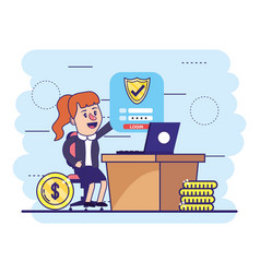 Woman with laptop and digital security shield vector