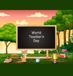 world teacher day text on blank board in middl vector image